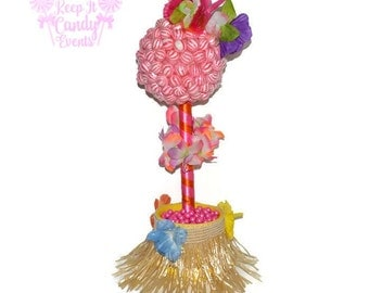 Hula Girl Lollipop Topiary, Hawaiian Theme Candy Buffet, Summer Party, Luau, Beach Wedding Centerpiece, Hula Candy Centerpiece, Barbeque