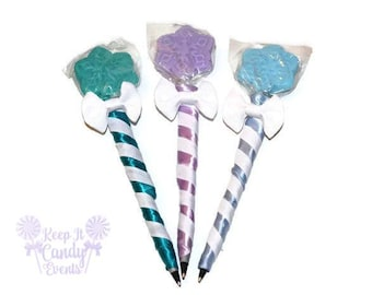 Snowflake Lollipen, Snowflake Lollipop Pen, Snow Candy Pen, Party Favor, Stocking Stuffer, Winter Theme, Snow theme, Snowflake theme, Favor