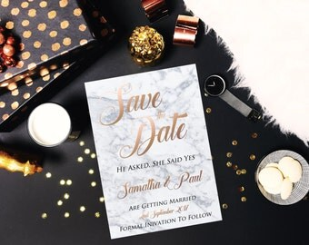 Marble Save the Date, Save the Date Invitation Printable, Save the Date Invite, Vintage, Modern, Digital