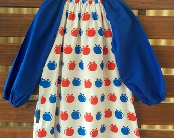 Kids Long Sleeve Art Smock - Size 4 - 7. Apples