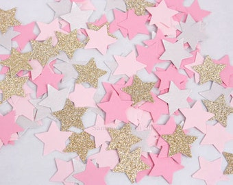 200 Pink and Gold Glitter Star Birthday Confetti, Twinkle Twinkle Little Star Party, Small Stars Confetti, Party Decorations, Baby Shower