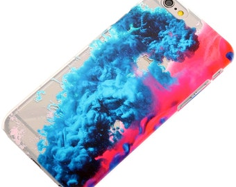 Colored Smoke Water Transparent Clear-Blue-Pink -iPhone Case-Trendy- iPhone 6-iPhone 7- iPhone 6 Plus- iPhone 7 Plus-Galaxy S7- Note 5-TPU