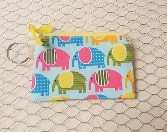 Credit card pouch, Gift card holder, coin pouch, Elephants