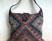 1980s Bohemian Tapestry and Leather Orvis Handbag Shoulder bag Purse Boho Style