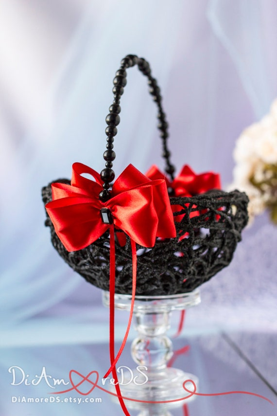 Flower Girl Baskets Black : Flower girl basket red black wedding bridal