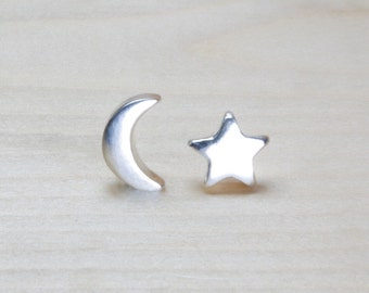 fine silver star & moon stud earrings, silver moon star studs, fine silver studs, tiny posts, celestial, night sky, handcrafted studs,