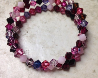 Pinks and Purples Memory Wire Bracelet