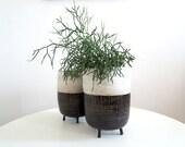 Black and white geometric striped planter, tripod planter