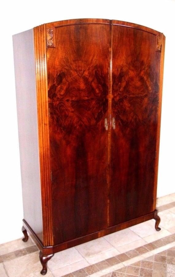 Vintage 1930's Art Deco Mahogany 2 Door Armoire Wardrobe