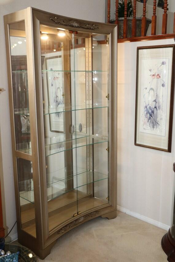 Large Rare Pulaski Curio Cabinet Display Case 2 In Curved