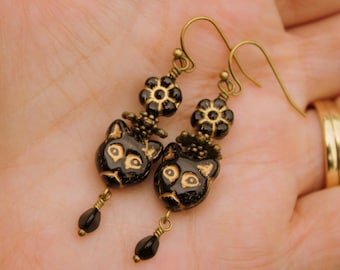 Black Cat Earrings Bohemian Cats Black & Gold Czech Beads Kitty Cat Dangles Rustic Boho Cats Animal Lover Pet Jewelry - Purrr-fect!