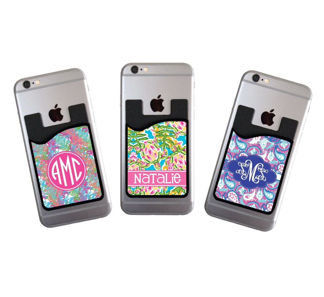 monogrammed personalized cell phone card caddy phone wallet preppy wallet card holder monogram