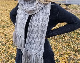CROCHET PATTERN Patia Bulky Textured Scarf Wrap Instant Download PDF