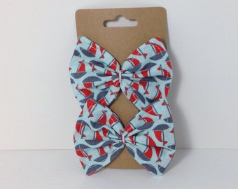 Handmade Nautical Sailboat Fabric Bow Hair Clips {Set of 2}