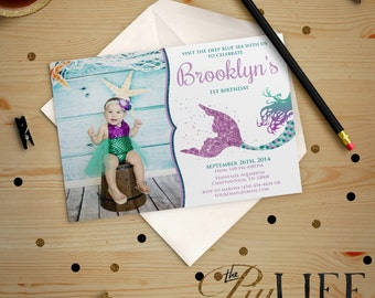 Glitter Siren Mermaid Under The Sea Birthday Invitation with photo Printable DIY No. I195