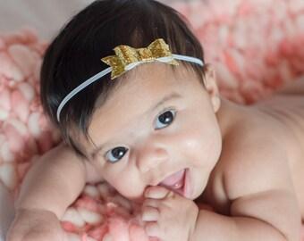 Gold Bow Headband, Baby Headband, Glitter Bow Headband, Silver Headband, Infant Hair Bow, Newborn Headband, Newborn Hair Bow