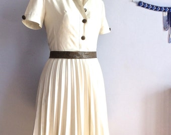 50s pleated dress knee length secretary dress 50s style beige pleated tea dress vintage 1950s pleated skirt dress XS dress Size extra small