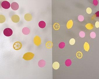 Pink Lemonade Birthday Decoration Lemonade Paper Garland 1st Birthday Lemonade Baby Shower Decor Sip and See Lemonade Bridal Shower Decor