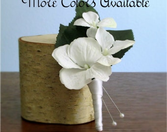 """Set of Silk Hydrangea Boutonnieres, Color Choice Ivory, White, Red, Peach, Pink, Yellow, Purple, Light Apple Green, """"Grace"""""""