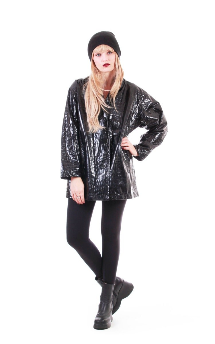 90s Vintage Black Pvc Coat Shiny Wet Look Plastic By