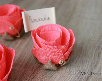 10 Flower Place Card Holders with Cards, Rustic Wedding Place Cards, Table Name Place Card Holder, Wedding Guest Favors, Rose Place Cards