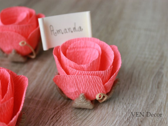 10 Flower Place Card Holders With Cards Rustic Wedding