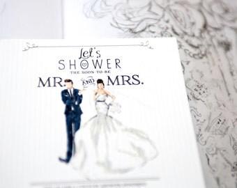 Printable 'Full-Color Hand Illustration' Couple's Wedding Shower  Invitation