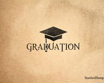 Graduation  Rubber Stamp - 3 x 2 inches