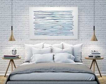 Large Art, Minimalist Print, Indigo Art, Navy Blue Painting, Abstract Art, Abstract Watercolor, Horizontal Art, Abstract Blue