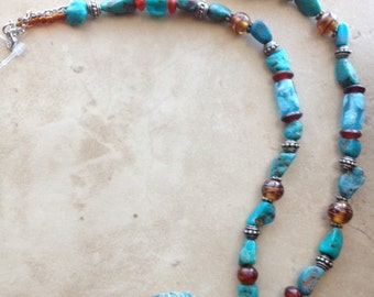 Turquoise Caramel Glass Necklace