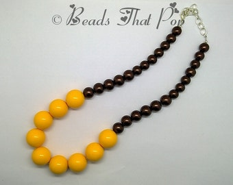 Womens Goldenrod Chunky Necklace, Yellow Chunky Statement Necklace, Chocolate Beaded Necklace, Statement Necklace, Handmade, One-of-a-kind!