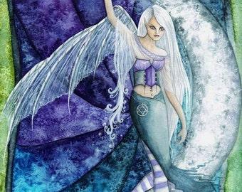 Moon Sprite Small Print/Faerie Print/Fairy Art/Gothic/Magical/Fantasy/Faerie art/Moonlit/Moonlight/Crescent Moon/Enchanted/Faerie Realm