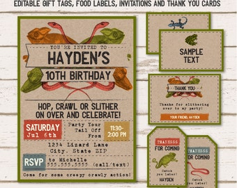 Reptile Invitations - Reptile Food Labels - Reptile Gift Tags - Reptile Thank You Cards - Instant Download - Edit NOW! Lizard Party