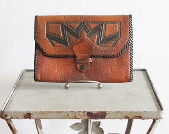 Calloway Clutch * 1920s Art Deco embossed leather clutch or wallet