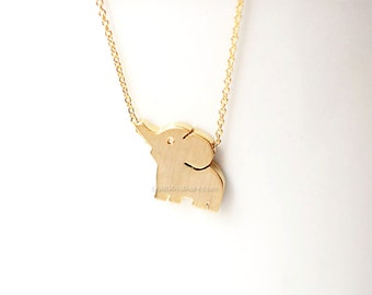 Gold elephant necklace, Baby elephant necklace, wedding gifts, bridesmaid gifts, gift ideas, birthday gifts