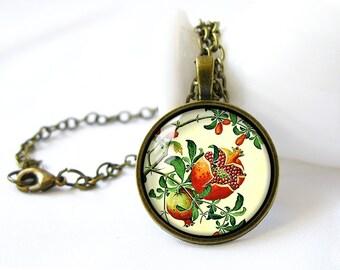 Retro Style Handmade Glass Dome Necklace, Pomegranate Illustration, C-294
