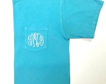 Short Sleeve Monogrammed T Shirt, Monogram T Shirt, Monogram Short Sleeve Pocket T, Monogram Pocket T, Monogram Pocket, Monogram T Shirt