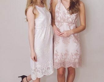 ELLA - Bridesmaid Dress - cross over shift dress in blush pink guipiere lace - bespoke