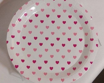8 x Pink plates, paper plates, heart theme, pink party decor, disposable plates, 1st birthday girl, princess party, pink heart, baby shower