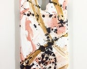 Samsung Galaxy S 4 Case - Hand Painted - Abstract Cover - Cellphone accessories - hard plastic - Peach White Gold Black