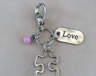 Silver Puzzle Piece Charm Clip for ID Lanyard Purse Backpack