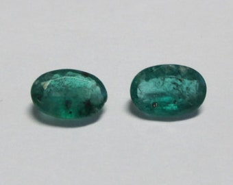 Natural Emerald pair with great color 5x3x1.25mm .88ct ovals