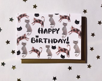 Cat Happy Birthday Card - Alternative Cute Cat Card for her - Crazy Cat Lady Birthday Card -cat drawing - illustrated tabby cat card