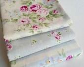 Princess Rose Fat Quarter bundle small - Lecien, floral purple fabric bundle, shabby chic, romantic, floral fabric, grey