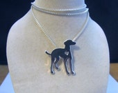 RESERVED for Emily Greyhound Whippet Italian Greyhound Silver Pendant Necklace ON SALE