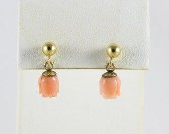 14k Yellow Gold Coral Flower Earrings Dangle Drop Earrings
