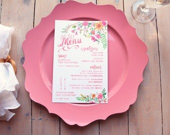 Floral Bohemian Wedding Menus - Pink Menus - Printable DIY Menu Cards - Lilibelle