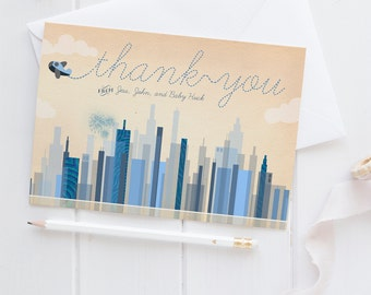 Airplane Thank You Cards - Blue Vintage Aviation Thank You Notes - Hudson - Instant Download