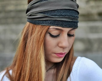 Running Headband, Grey Purple Headband, Knitted Headband, Yoga Headband, Boho Headband, Workout Headband, Womens Turban, Womens Headband