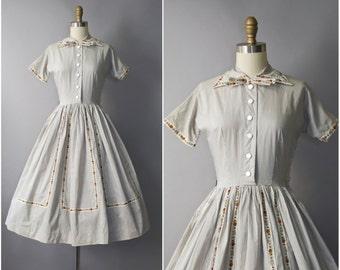 1950's striped cotton shirtwaist dress • extra small